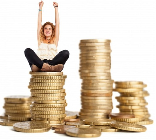 curly-haired-woman-sitting-on-a-pile-of-coins_1149-80